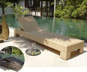 Well Furnir China Wicker Furniture Manufacturer, Adjustable Single Outdoor Chaise Lounge pictures & photos