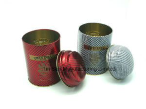 Round Tea Tin Box with Domed Lid