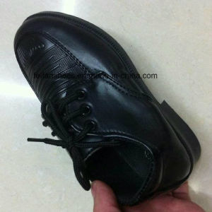 Cheap Children Black Casual Leather Shoes Stocks (FF525-1) pictures & photos