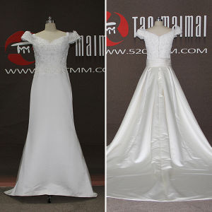 2016 New Satin Lace Detachable Train A-Line Wedding Dresses (TM-AL050)