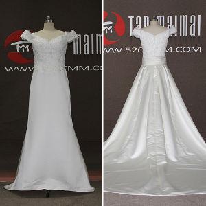 2016 New Satin Lace Detachable Train A-Line Wedding Dresses (TM-AL050)