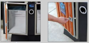 Hot Selling Outdoor Waste Container with Plastic Wood (HW-D02A) pictures & photos