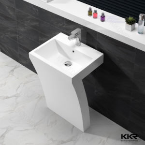 Modern Acrylic Solid Surface Bathroom Pedestal Hand Wash Basin pictures & photos