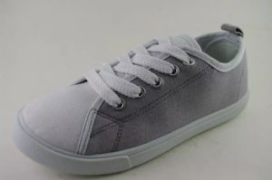 Round Toe Women Canvas Shoes with Grey Upper (NU048)