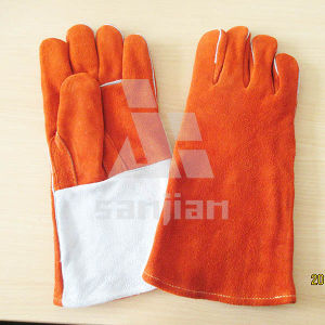 "Orange 13"" Split Leather Ab/Bc Grade Welding Safety Glove with CE pictures & photos"