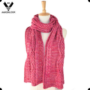 2016 New Lady′s Acrylic Cable Pattern Jacquard Scarf pictures & photos