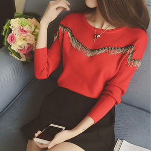 2015 Autumn Winter Fashion New Arrival Angora & Cashmere Pullover Sweater with Tassels with Knitting Garment pictures & photos