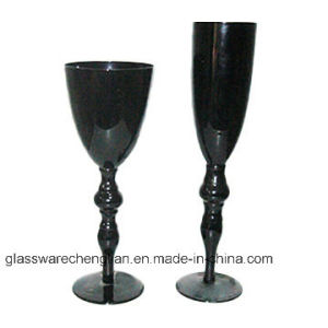Delicate Black Wine Glass with Long Stem (B-WG041) pictures & photos