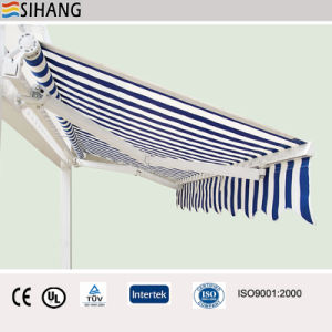Cheap Retractable Awning With Manual Crank And Polyester Fabric Size Make  To Order