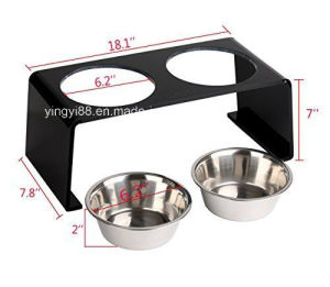 New Acrylic Pet Elevated Feeder Stand with 2 Stainless Steel Bowls for Cats and Dogs pictures & photos