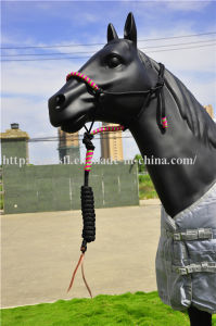 Personalized Braided Crown PP Horse Halter with Lead Leather Strip End pictures & photos