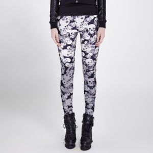 K-259 Gothic Camouflage Classic High Elastic Knitted Skull Printed Leggings pictures & photos