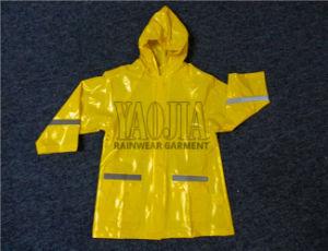 Wholesale Rain Wear Yellow Color Waterproof PVC Kids Rain Jacket pictures & photos