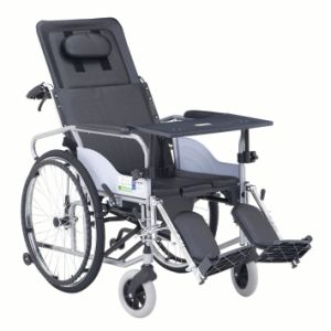 Wholly Reclined with Commode Powder Steel Wheelchair