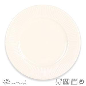 Cream Color Embossed Ceramic Stoneware Plate pictures & photos
