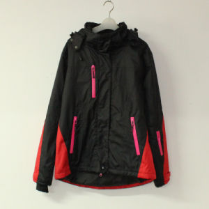 Black/Red Seam Taped Waterproof Padded Polyester Pongee Jacket with for Adult pictures & photos