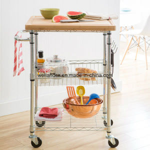 DIY 3 Tiers Stainless Steel Kitchen Cart with One Basket pictures & photos