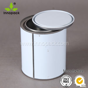 Small White Metal Tin Can with Open Top Lid pictures & photos