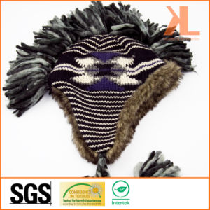 Acrylic & Artificial Fur Jacquarded Knitted Hat with Earflaps and Braids pictures & photos