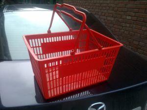 Double Handle Plastic Supermarket Basket pictures & photos