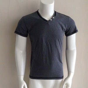 Polyester Spandex V Neck Plain Cheap Mens Tee Shirts pictures & photos