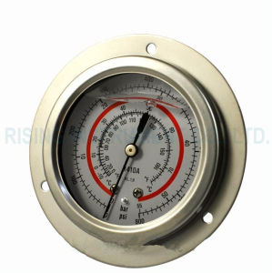 63mm Panel Mount Oil Filled Refrigerant Pressure Gauge with Flange pictures & photos