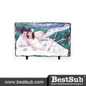 Bestsub Rectangular Shape Personalized Sublimation Photo Slate with Clock (SBBH37) pictures & photos