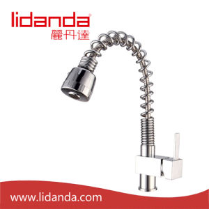 Contemporary Single Handle Brass Kitchen Faucet with Chrome (Spray Pullout) pictures & photos