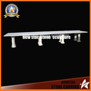 Simple Design White Marble Meeting Table or Dining Table in Hotel Garden pictures & photos