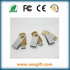 Wood Body+Metal Clip Swivel USB Flash Disk pictures & photos