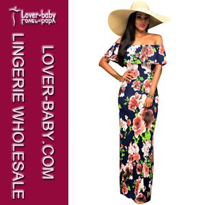 off Shoulder Sexy Flower Lady Long Dress (L51326) pictures & photos