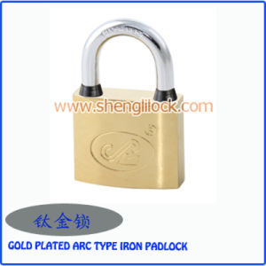 High Quality Waterproof Gold Plated Arc Type Iron Padlock pictures & photos