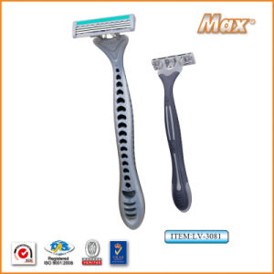 Triple Blade Stainless Steel Blade Disposable Shaving Razor (LV-3081) pictures & photos