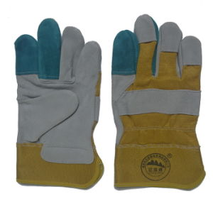 Reinforcement Palm Cow Split Leather Working Gloves pictures & photos