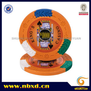 14G 4-Tone King′s Casino Clay Poker Chip with Custom Stickers pictures & photos