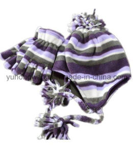 Promotion Lady Knitting Winter Warm Printed Polar Fleece Set pictures & photos