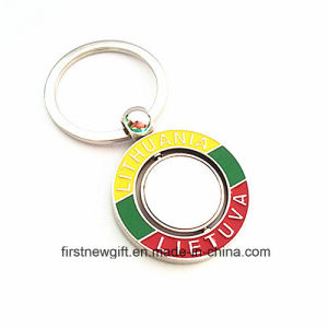Lithuania Tour Gift Spinning Keyring Souvenir with Engrave Logo (F1124)