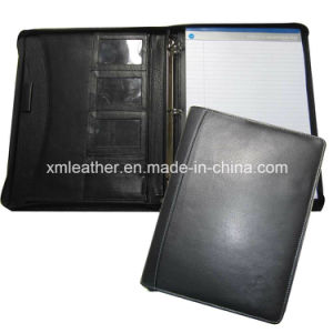 Custom Leather Compendium File Folder Binder with Notepad pictures & photos