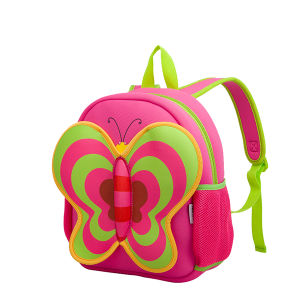2016 New Very Cute Kids Leisure Backpack in Pink Color with Neoprene Material Super Light Butterfly Shape for Travel,