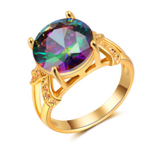 New Design Wedding Jewelry Gold Plated Multicolour CZ Finger Ring pictures & photos