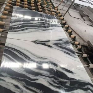 Bookmatch Black Vein′s White Marble Panels for Background pictures & photos