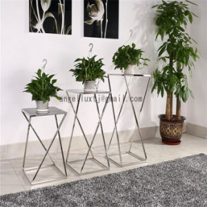 Modern Hotel Lobby Furniture Indoor Unfolded Stainless Steel Glass Table Coffee Flower Desk pictures & photos
