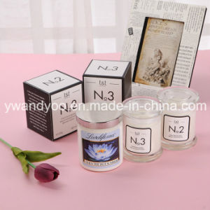 Scented Soy Romantic Candle in Clear Glass Jar with Lid pictures & photos