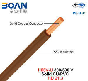 H05V-U, Electric Wire, 300/500 V, Sloid Cu/PVC (HD 21.3) pictures & photos