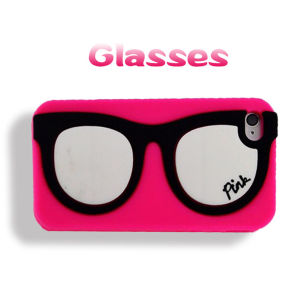 Pink Frame Glasses White Lens Silicone Phone Case for iPhone 6 Plus (XSP-003)