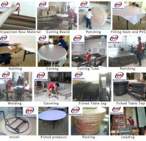2016 Round Plywood Foldable PVC Coated Hotel Dining Table pictures & photos