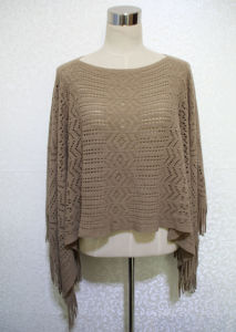 Lady 100% Acrylic Knitted Hollow Fringed Shawl Poncho (YKY4511) pictures & photos