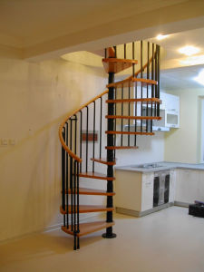 Spiral Staircase Wood Treadboard Stainless Steel Baluster