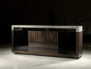 Modern Solid Wood with Travertine Top TV Stand (TV009)