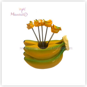 Food Grade Plastic Banana Design Fruit Fork Set Fruit Pick pictures & photos